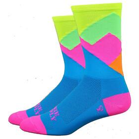 "DeFeet Aireator 6"" Socks Alpine (Process Blue w/Hi-Vis Yellow Top)"